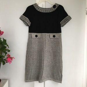 Etincelle Couture mod gray & black sweater dress